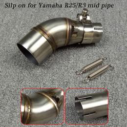 2019 yamaha scarico moto Silp on per Yamaha YZF-R25 / YZF-R3 Moto In acciaio inox centrale di collegamento Coda marmitta Sistema di tubi di scarico yamaha scarico moto economici