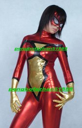 Wholesale sexy spiderman lycra costume xl - Fantasy Women Spider Suit Outfit New Red Gold Shiny Lycra Metallic Spiderman Suit Catsuit Costumes Sexy Women Spider Body Suit Costumes P270