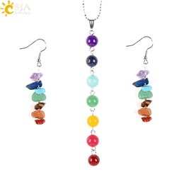 Wholesale 14k Gold Jade Earrings - CSJA 7 Chakras Yoga Women Jewelry Sets Healing Reiki Rainbow Chips Earrings Necklaces Pendants Natural Gem Stone Mala Beads E702