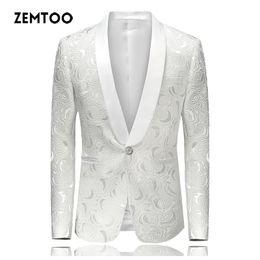 Wholesale Pure Flow - zemtoo Men's Blazers Casual Flow Pure Color Men 2018 Spring and Autumn Large Size Blazer Gentleman Men Slim Casual White Suit