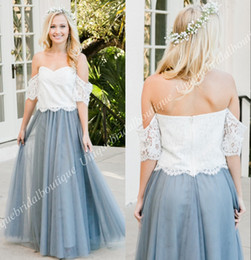 Wholesale Wedding Dresses Convertible Skirt - Two Pieces Bridesmaid Dresses 2018 Lace Top Tulle Skirt Mix and Match Country Bohemian Maid of Honor Gowns Full Length Wedding Guest Party