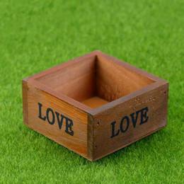 vivaio paesaggistico Sconti Mini scatola quadrata di legno Vaso da fiori Vivaio Vaso di fiori Scatola di immagazzinaggio mensola portatile Moss Terrarium Micro Paesaggio Decorazione Materiale fai da te