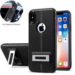 Wholesale Iphone 5s Car Mount - New Leather Pattern Kickstand TPU Case For iphone X Car Magnetic Mount Back Cover For Iphone 8 7 6s Plus 5S Samsung S8 Plus S8 Note 8