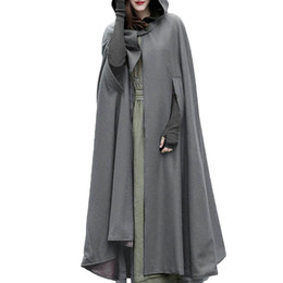 Umhang mit kapuze graben online-Women 2018 Autumn Winter Hooded Coat Oversize Retro Irregular Long Poncho Cape Trench Cloak Button Open Front Cardigan Overcoat