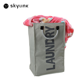Wholesale Storage Wire Basket - Waterproof Black Gray Dirty Clothes Storage Bag Home Supplies Foldable Laundry Basket Oxford Bag With Aluminum Alloy Handle