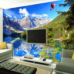 Wholesale chinese photography background - Custom Mural 3D Wall Papers Home Decor Snow Mountain Lake Nature Landscape Photography Background Wall Painting Photo Wallpaper