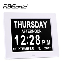 Wholesale Large Digital Table Clock - Wholesale-Extra Large 8inch Non-Abbreviated Day&Month Digital Calendar Alarm Clocks with 5 Alarm Impaired Vision and Seniors Table Clocks