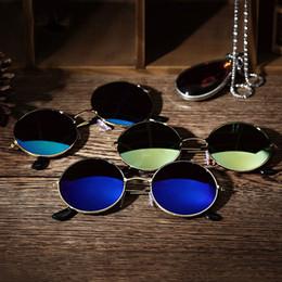 caja de metal android tv Rebajas Moda Hombres Mujeres Retro Gafas de sol redondas con espejo Deportes al aire libre Gafas Conducción Viajes DHL 416