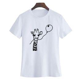 Воздушные шары с животными онлайн-Женская футболка 2018 новый женский милый животных печати с коротким рукавом футболки жираф удар воздушный шар графический футболка смешно футболка черный белый