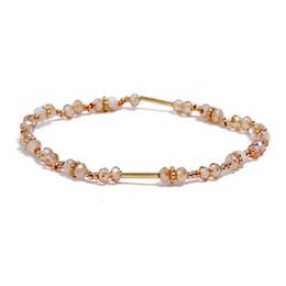 Elegantes brazaletes de perlas online-Nueva moda Rose Gold Color pulseras cristales imitación perla brazalete para mujeres joyería de moda elegante 5 piezas / set