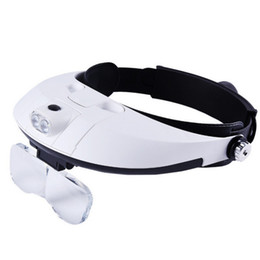 Wholesale Magnifier Reading - Iguardor Head-mounted Magnifier Headband Magnifying Glass with LED Light for Reading Jewelry Authentication - White