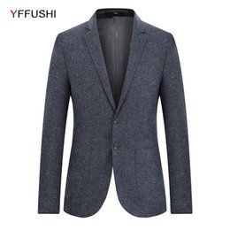 Wholesale Classic Wool Coats Men - YFFUSHI Dark Grey Wool Men Suit Jacket Classic Retro Gentleman Style Men Business Blazer Slim Fit Wedding Coat for Male