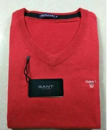 Estilos de pescoço suéter para homens on-line-Novo Estilo Primavera Suéter Dos Homens com Decote Em V Casual Knit Jumpers Camisolas Mens Longos Pullovers Famosa Marca