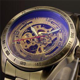 антикварные мужские часы Скидка Античный дизайн автоматический скелет механические часы старинные латунь стали мужские наручные часы скелет стимпанк часы мужской синий циферблат D18100709
