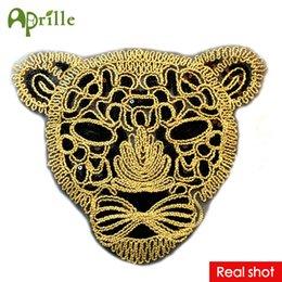 Ropa de coser diy online-Nueva grande negro Leopard Head lentejuelas Parche ropa DIY parches para la ropa Coser ropa bordada Tiger Motif apliques artesanía