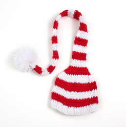 Wholesale crochet hat long tail - Popular cute crochet baby hat with long tail unisex infant cap for take photo free shipping