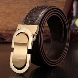 Wholesale Young Leather Men - Men Belt 8 Word Buckle Dermis Cowhide Grapheme Waistband Women All Match Smooth Buckles Leather Girdle For Young And Middle Aged 15zl Y