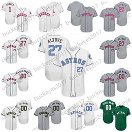 Wholesale black independence day - Custom Houston Father Mother Memorial Independence Day Stitched Any Name Number Men Women Kids #27 Altuve Correa White Baseball Jersey S-4XL