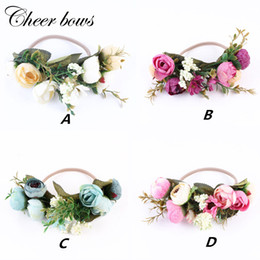 boho flower wreath wedding hair Promo Codes - Girls Fabric Flower Headband Headwrap Elegant Flower Crown Romantic Bridal Floral Crown Boho Wedding Wreath Hairband