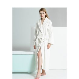0d1955baf7 Nordic Simple Nightgown Female Winter Flannel Bathrobe Long Whtie Stripe  Robes Terry Pajamas Ladies Autumn Winter Bath Robe sexy flannel nightgowns  for sale