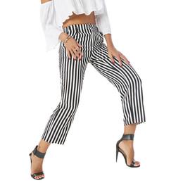 Эластичный пояс в полоску штаны женские прокладки пят брюки Прямые лето 2018 покроя Белый брюки женский cheap elastic ankle trousers от Поставщики эластичные штаны для брюк