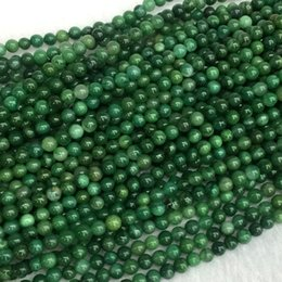 """Wholesale 4mm green jade - AAA High Quality Natural Genuine South Africa Green Jade Round Jewellery Loose Small Ball Beads 4mm 15.5"""" 05439"""
