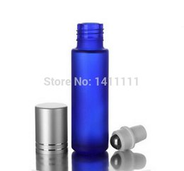 Wholesale Cobalt Blue Glasses - Wholesale- Thick Frosted cosmetic 10ml cobalt blue Glass Roll On Essential Oils Bottle + Metal Roller Ball 100PCS LOT BY DHL FREE Shipping