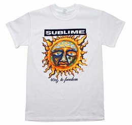 classic rock shirts Coupons - SUBLIME 40 Oz To Freedom WHITE T-Shirt Brand New Authentic Rock Tee S M L XL XXL RETRO VINTAGE Classic t-shirt