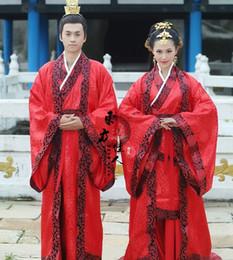 2019 trajes hanfu Trajes de Hanfu tradicionales de la boda roja para los juegos del traje de los hombres y de las mujeres del amante trajes hanfu baratos