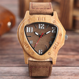 Wholesale Triangle Men Watches - Luxury Men Bamboo Watch Noble Triangle Big Numbers Dial Genuine Leather Strap Stylish Business Male Wooden Quartz Wristwatch