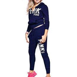 Wholesale Long Zip Sweatshirt - Pink Love women sport wear 2pc Set Tracksuit Women Letter Pink Print Sport Suit Hoodies Sweatshirt +Pant Jogging Sportswear 2018 hot