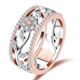 2019 925 prata rosa flor anel Anel De Cristal Geométrica Rose Gold Silver Cor Flor Anéis de Casamento Noivado para As Mulheres 925 Anel de Dedo Jóias Anillos
