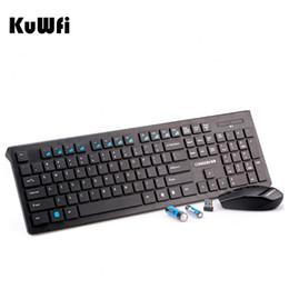 2019 teclado de estilo livre Kuwfi Ultra Slim 2.4G Teclado Sem Fio + Mouse Nano Receptor Portátil Teclado Para Jogos Mouse Combo para Desktop / PC