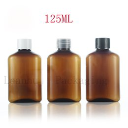 Wholesale gel bottle caps - Empty PET Brown Lotion Cream Bottles With Screw Cap,125ML Refillable Shampoo,Shower Gel,Body Milk Cosmetics Packaging Container