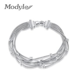 Wholesale multiple chain bracelet - Modyle 2017 High quality Australia Crystal Multiple Chain Bracelets Jewelry Best Gift For Woman For Party Wedding
