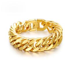 Männliche handbänder online-Mens Chain Link Armband 15mm breit Edelstahl Handgelenk Band Hand Gold Farbe Armband männlichen Schmuck Geschenk Pulseira