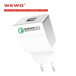 Wholesale brand certified - Qualcomm Certified WEWO Quick Charge 2.0 Wall Charger USB Power Adapter Cell Phone Fast Charging For iPhone X iPad Samsung Xiaomi