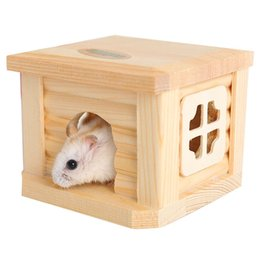 Wholesale Mouse House - Pet Hamster Wooden House Hut Small Animal Mouse Hideout Cage Gerbil Chalet Mice Room Nest