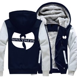 Wholesale Uniform Wool - 2018 New USA SIZE Men Winter Autumn Hoodies Wu-Tang Clan pattern Fleece Coat Baseball Uniform Sportswear Jacket wool -D