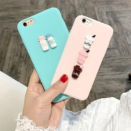 Wholesale Fit Coffee - Case for iphone 5 5s 6 6s 7 8 plus X 3D Coffee Milk Makara pink cute soft tpu cover for Samsung galaxy S6 S7 edge S8 Note 8