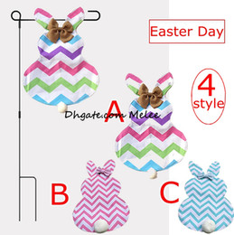 Wholesale Cute Bow Tie - Diy Chevron Easter Bunny Flags Canvas Rabbit Garden Flag with Jute Bow Tie Easter Home Decoration Cute Bunny Shape Garden Flag 4styles free