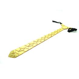 Wholesale Geometric Cufflinks - Geometric Shape Gold Chrome Mirror Diamonds Brand Slim Necktie Tie Cufflink Set Wedding Party Fashion Pattern Ties Gold Cufflink