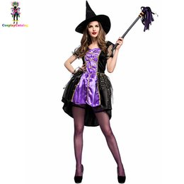 clothing new witch Coupons - New Halloween Women Costume Purple Witch Woman Dresses with Hat Carnival Cosplay Costumes Size M L XL Sorceress Clothes