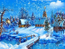 Restaurante pintura decorativa online-Costura 3D Diy Diamond Bordado Natural Snow Landscape Restaurant Pintura decorativa Full Square Diamond Painting