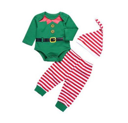 vestiti del bambino di natale Sconti Baby Christmas Outfits Baby Clothes Set Christmas Kids Neonati maschi Bambina a maniche lunghe Tops in cotone Pagliaccetto a righe Leggings Pantaloni Cap Outfit Set