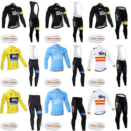 Wholesale Sky Long Sleeve Cycling Jersey - sky new items men winter autumn warm cycling Jersey sets with long sleeve bike top bib pants in cycling clothing bicycle wear C1032