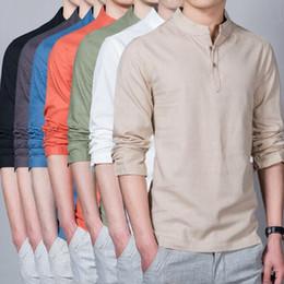 Top chino de manga larga online-7 colores de los hombres de color sólido de la blusa de lino suelto chino estándar tradicional cuello Casual camisetas Top de manga larga camisas casuales CCA9116 5 unids