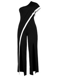 Barboteuse noire à une épaule en Ligne-Femmes Combinaison Romper 2017 Nouvel Été Noir Longue Pantalon Jambe Large Une Épaule Combinaison Split Élégante Combinaison Sural pour Dames