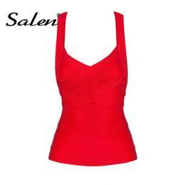 Wholesale White Bandage Tights - Salen 2018 New Sexy Women's Elastic Bandage Stretch V-Neck Tight Lady Camis Vest Tank Tops