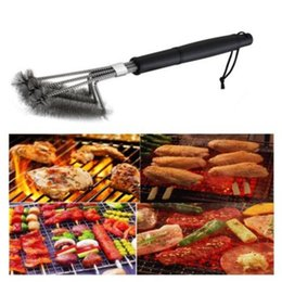 "Wholesale Cover Clean - Rugged BBQ Grill Brush 18"" Stainless Steel Barbecue Long Handle Cleaner Durable Cooking Brushes Cleaning Tool OOA5060"
